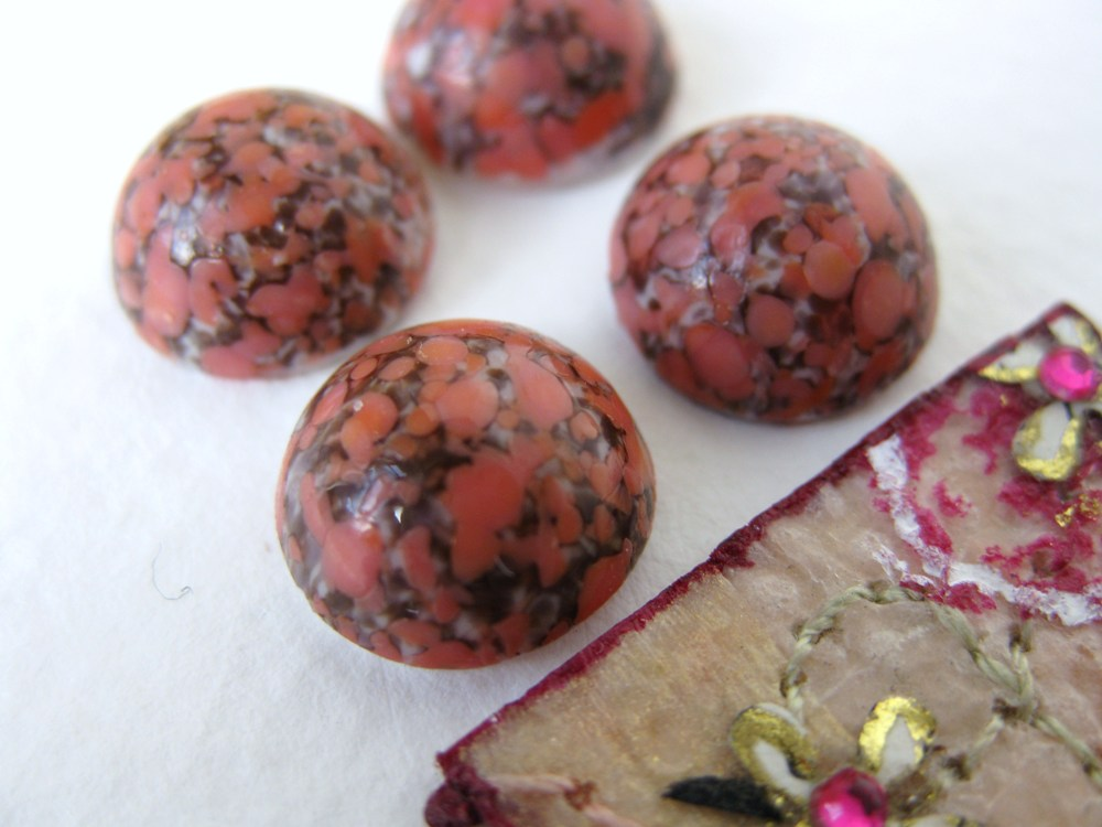 Bohemian Rose Matrix Glass Cabochons. History and Provenance