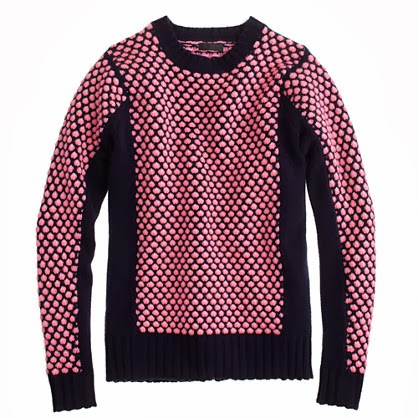 J.Crew navy and pink popcorn cashmere sweater