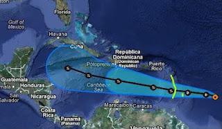 Tropischer Sturm ERNESTO zieht wahrscheinlich nach Yucatán oder in den Golf von Mexiko, Vorhersage Forecast Prognose, Ernesto, Karibik, Hurrikansaison 2012, Atlantische Hurrikansaison, aktuell, August, 2012, Golf von Mexiko, Mexiko, Yucatán, Cancún, Playa del Carmen, Riviera Maya,