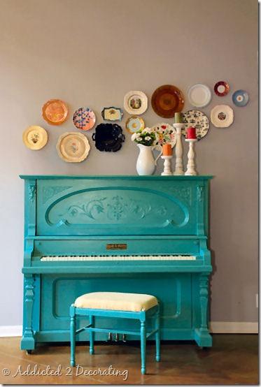 vintage blue piano