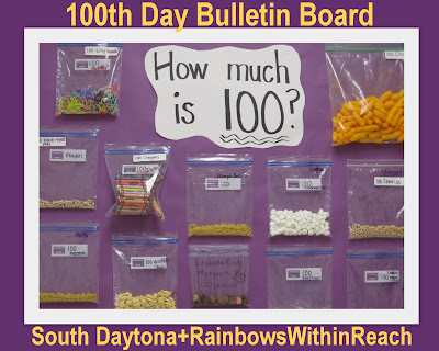 "100 Day ""Homework"" Assignment Bulletin Board (via 100 Day Party RoundUP at RainbowsWithinReach)"