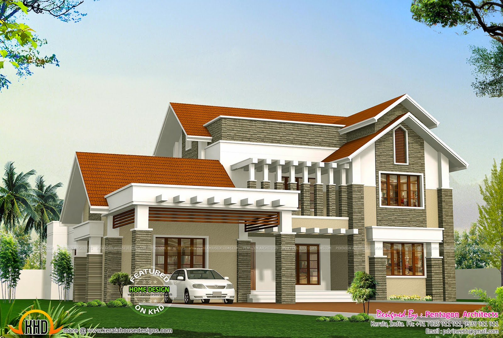 9 beautiful kerala houses by pentagon architects kerala for Kerala style house plans with photos