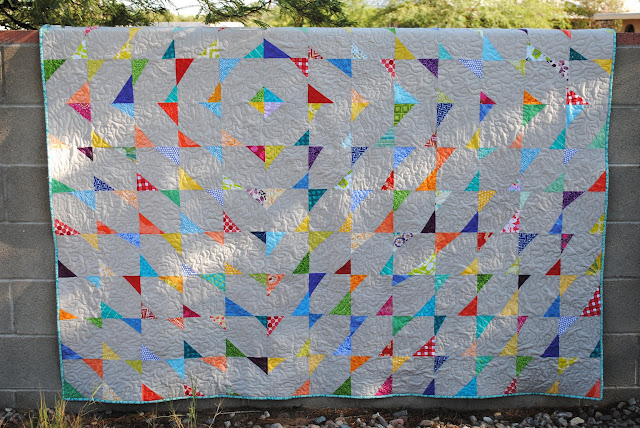 Finished stitch and flip wonky triangle quilt