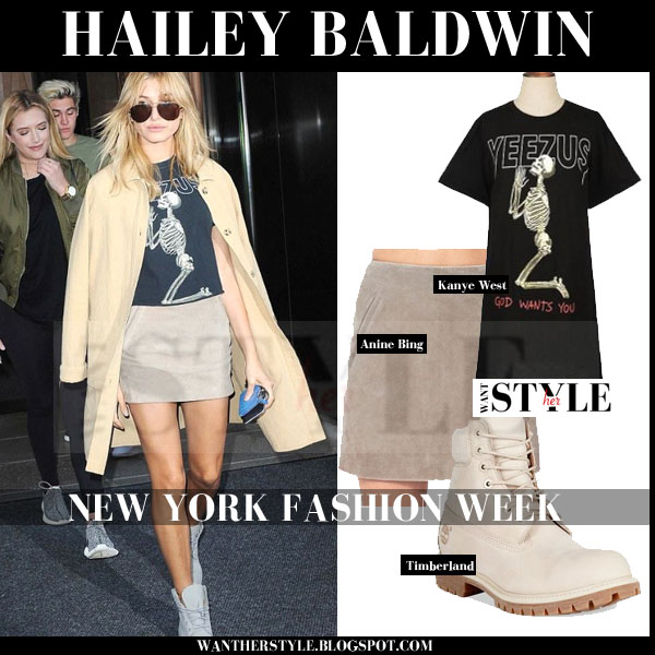 Hailey Baldwin in black Yeezus print tee, beige Anine Bimg suede mini skirt and beige timberland ankle boots streetstyle what she wore nyfw