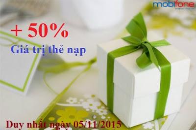 Ưu đãi 50% giá trị thẻ nạp Mobifone ngày 05/11