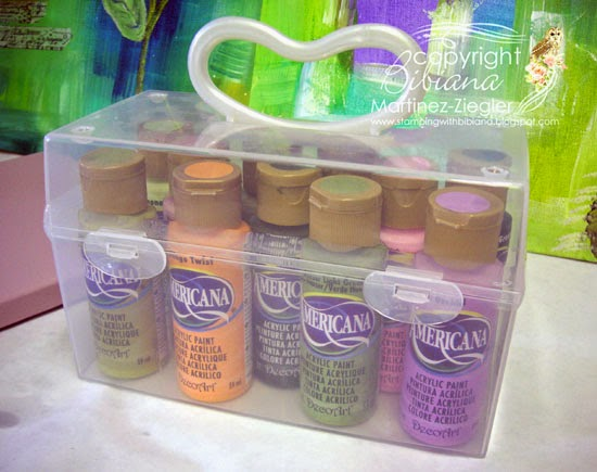 plastic box with handle organizer for paint bottles
