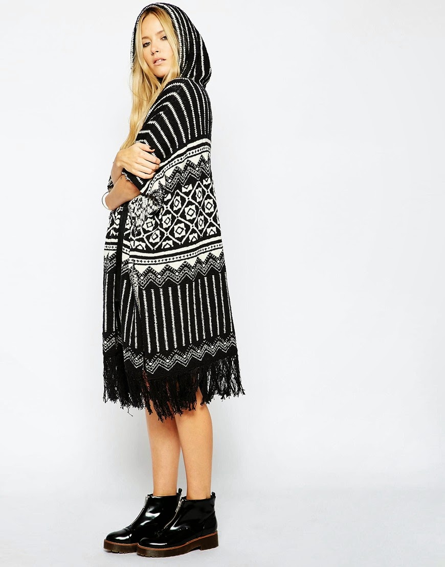 black white hood poncho, tassel poncho black,
