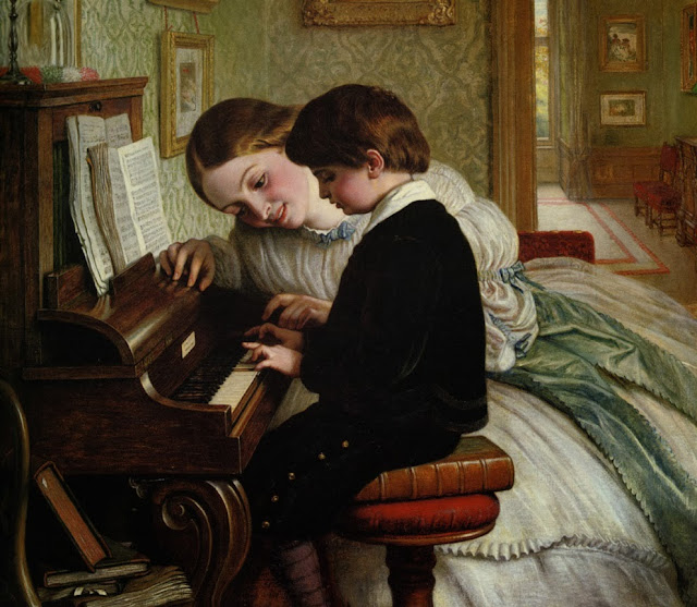 music lesson,piano,mother and child