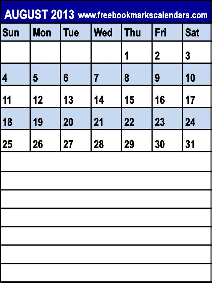"Weekly Calendar With Room For Notes : Search results for ""august calendar printable with"