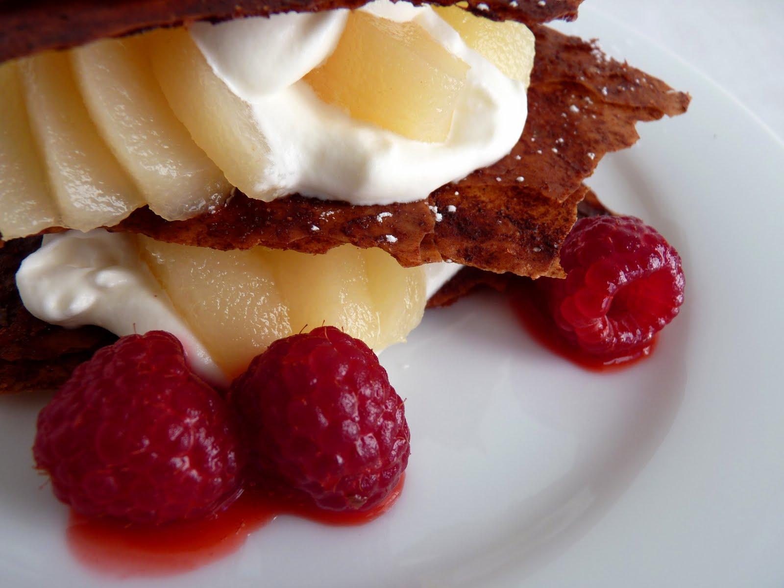 pastry studio: Chocolate Phyllo Napoleons with Pear and Raspberries