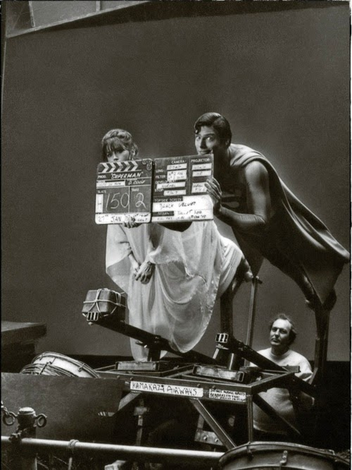 Imagenes cinéfilas - Página 5 Margot+Kidder+and+Christopher+Reeve+on+the+set+of+%E2%80%98Superman%E2%80%99,+1978
