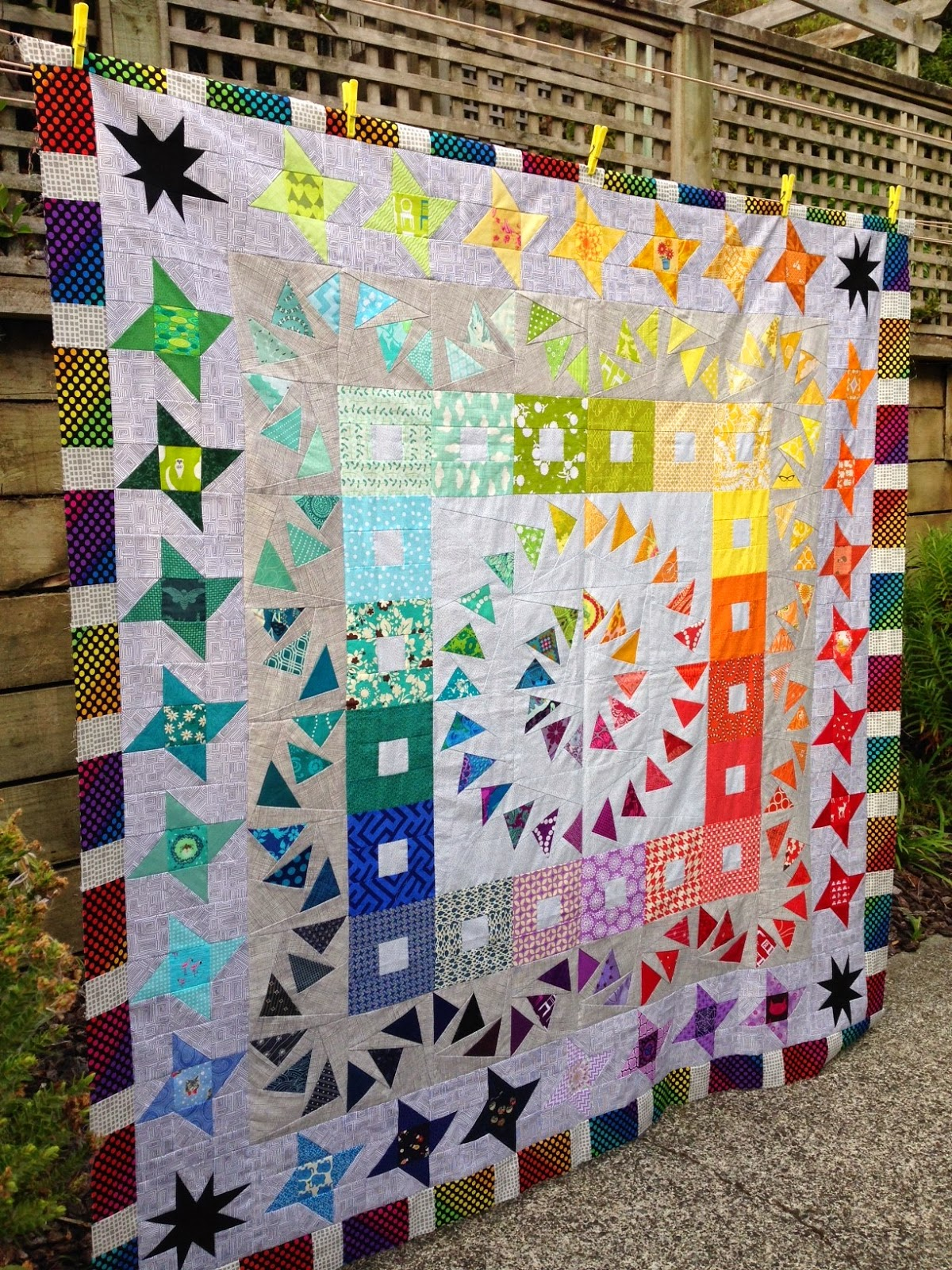 rainbow low volume quilt