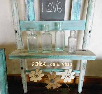 Chalkboard Shelf from an Upcycled Broken Chair from Denise on a Whim