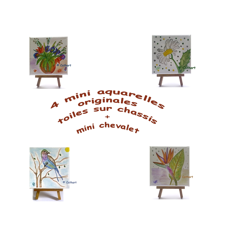 mes bijoux lithotherapie 4 mini aquarelles originales. Black Bedroom Furniture Sets. Home Design Ideas