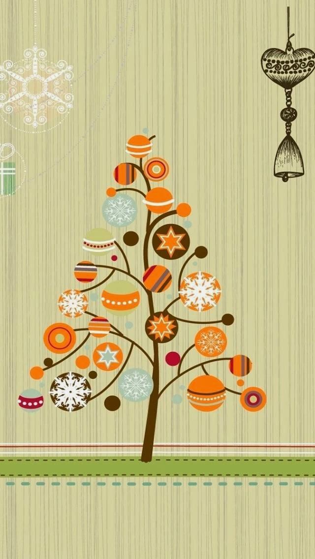árvore de Natal com enfeites na cor laranja