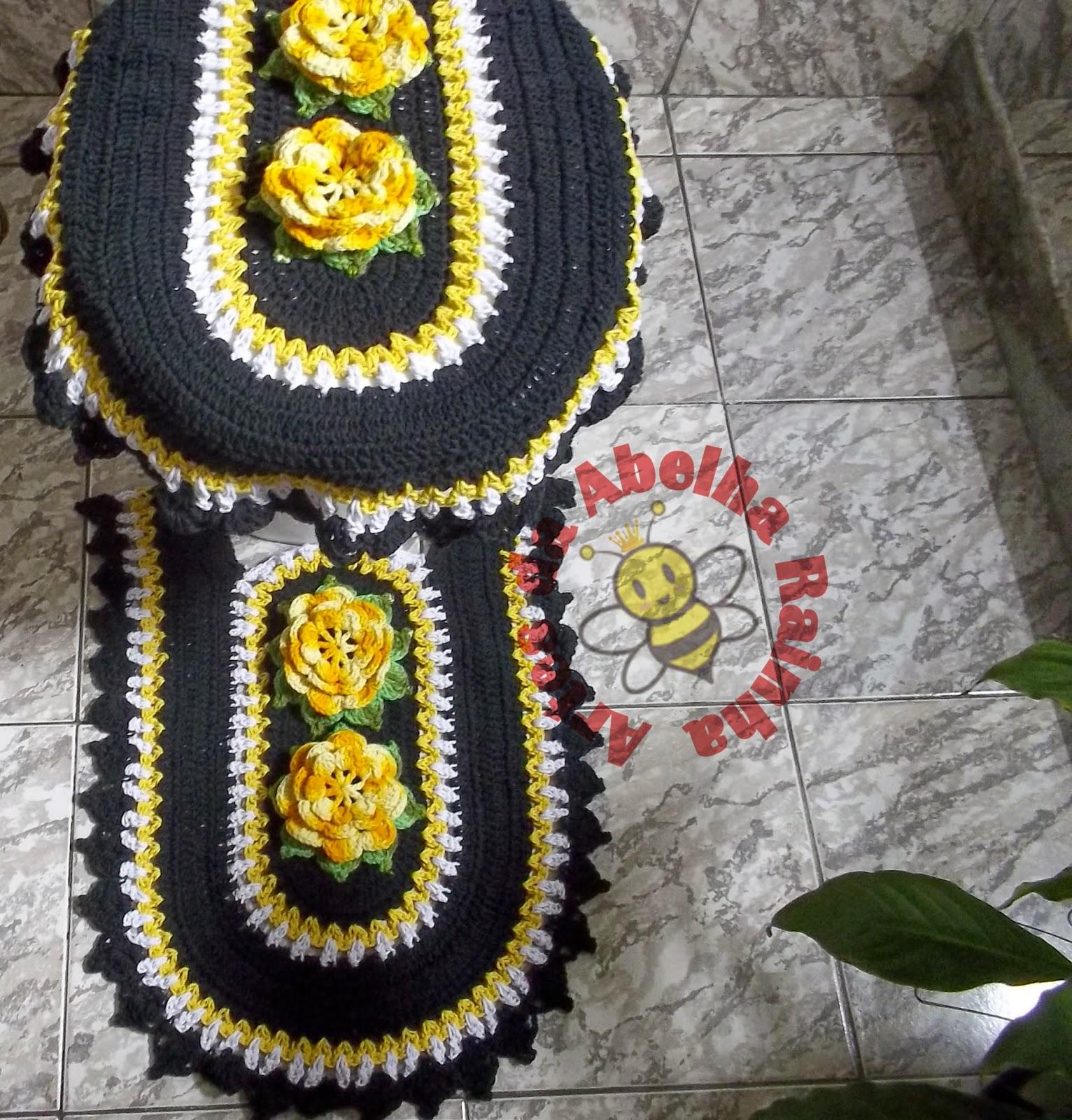 Artes da Abelha Rainha: Jogo de Banheiro de Crochê Preto e Amarelo #B28C19 1532x1600 Banheiro Amarelo Com Preto