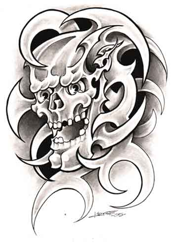 tribal skulls tattoos