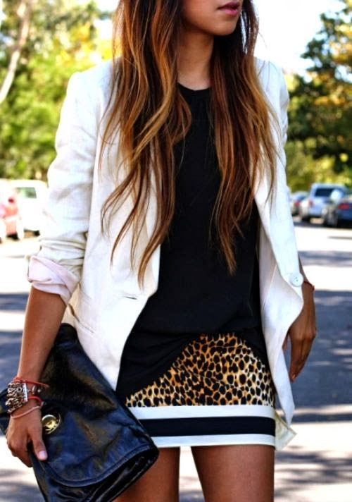 White blazer, black blouse, cheetah skin shorts and black hand bag fashion for fall
