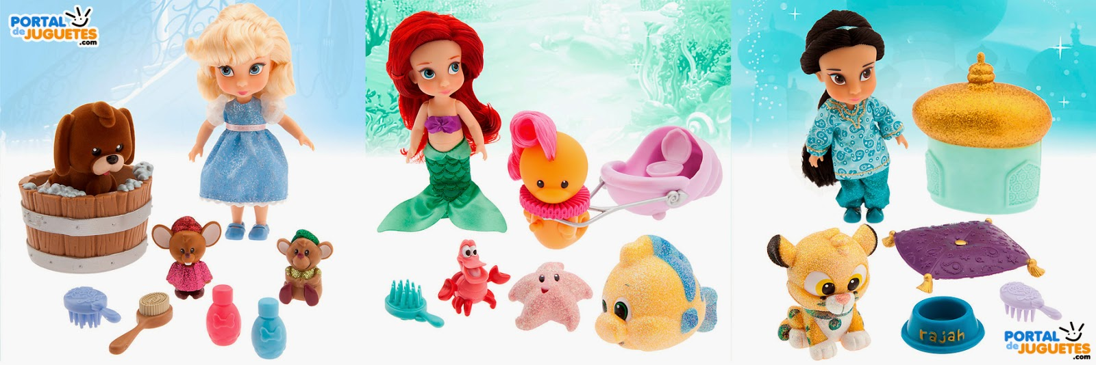 Minimuñecas Ariel Yasmin Cenicienta Coleccion Disney Animators