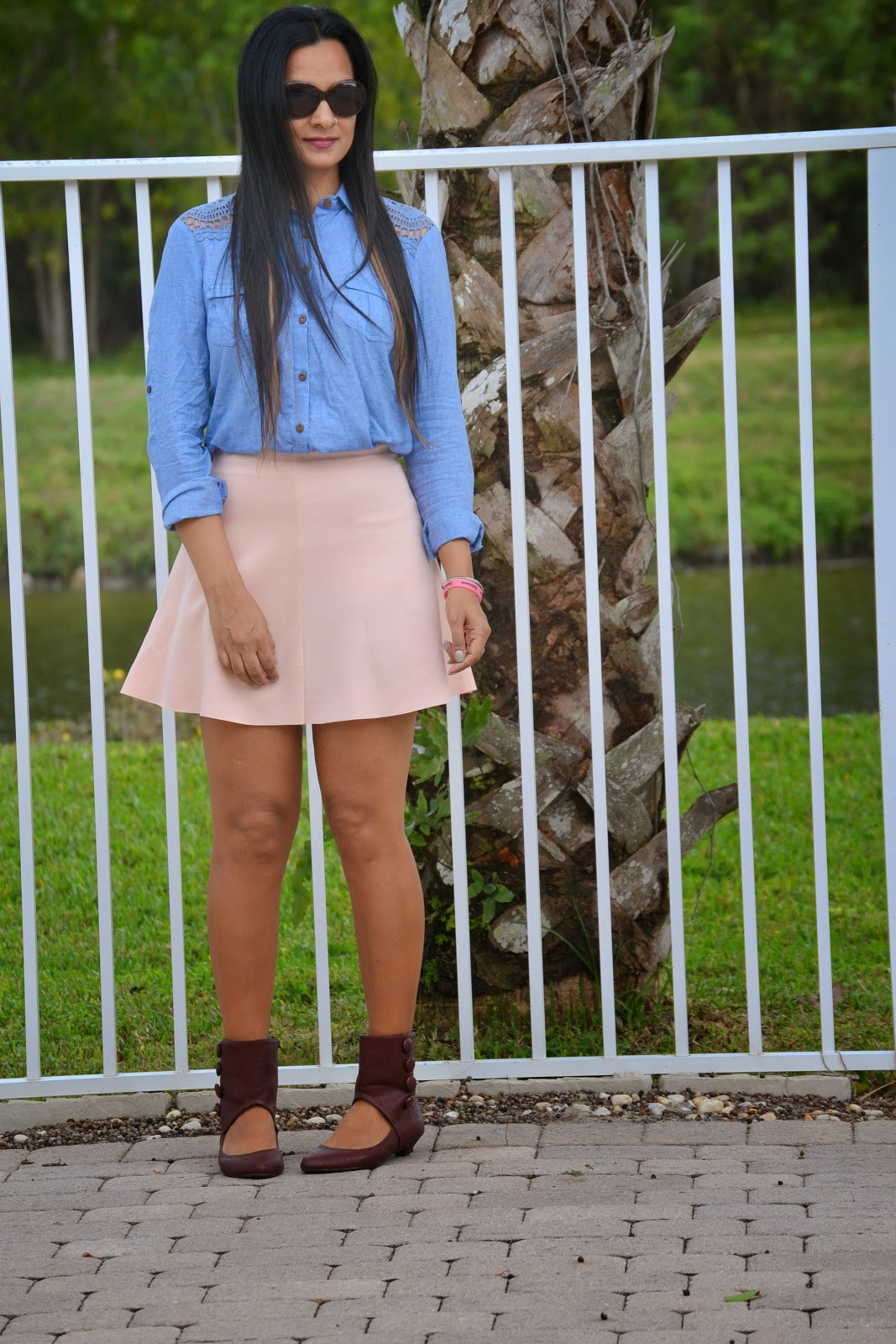 oasap Textured Skater Skirt amiclubwear shoes Denim Shirt oasap statement necklace ootd www.sandysandhu.co