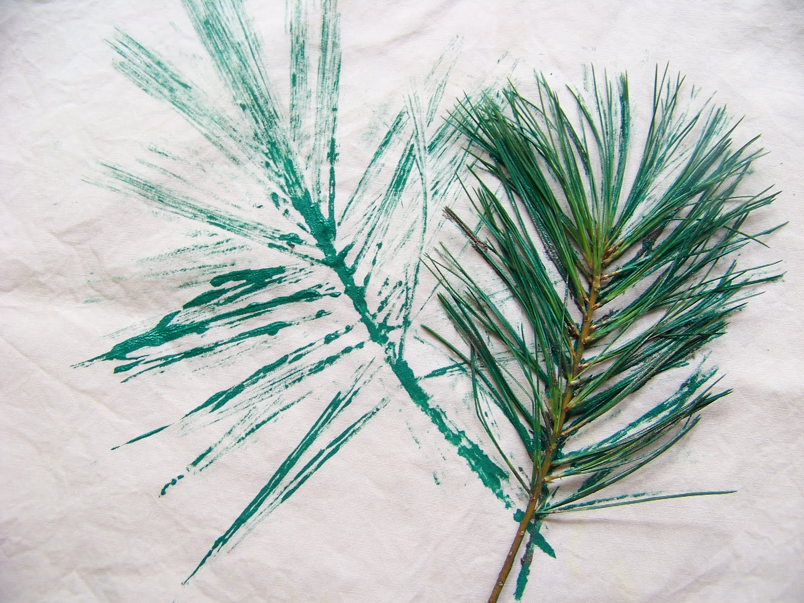 Pine Tree Stencil Pine needles ink side down