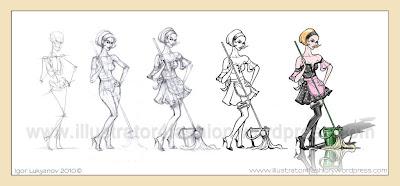 come creare disegno figurini di moda(donna abiti cameriera)