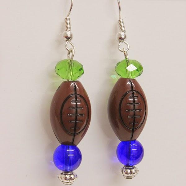 DIY Seahawks Inspired Football Earrings
