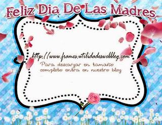 Marco color azul decorado con petalos de rosa para mamá