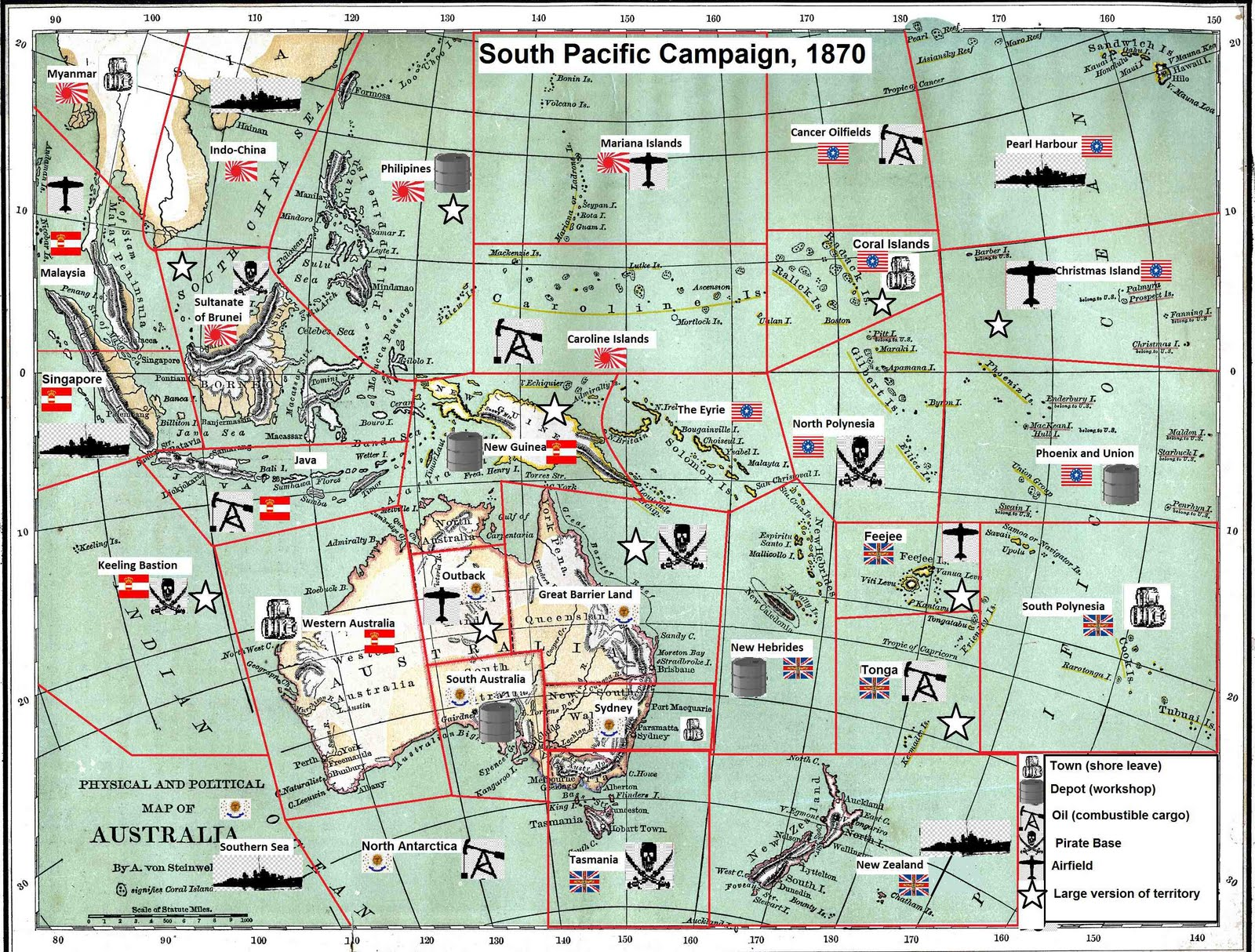 Rough War Dystopian Wars Campaign South Pacific Map - Dystopian us map