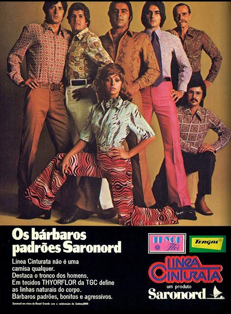 Propaganda dos modelos de calças cinturas da Saranord apresentados em um anúncio veiculado em 1971.