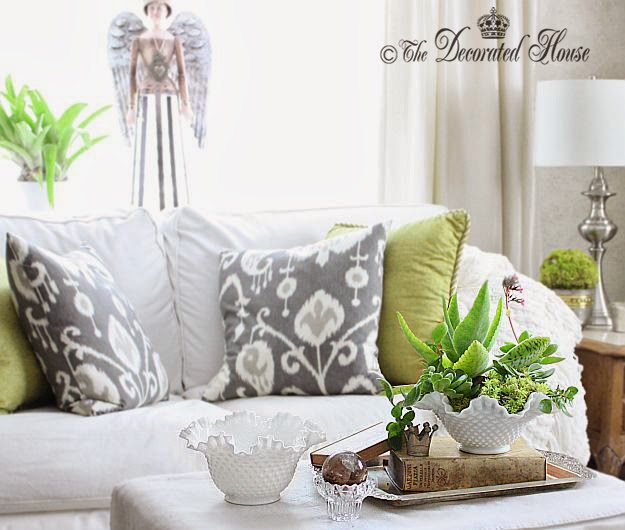 The Decorated House :: Decorating With Milk Glass & Succulents