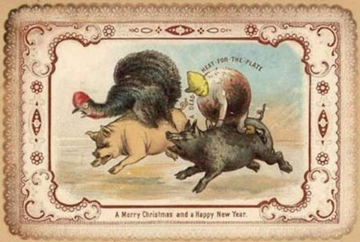 as with todays food marketing in this card animals are eager to be eaten a turkey and a plum pudding ride pigs in a dead heat for the plate
