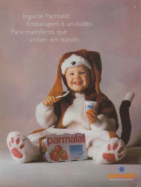 Campanha da Parmalat apresentada em 1996 com os famosos mamíferos.