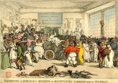 Exhibition at Bullocks Museum of Bonepartes Carriage taken at Waterloo by Thomas Rowlandson, published by  R Ackermann (1816)  © The Trustees of the British Museum