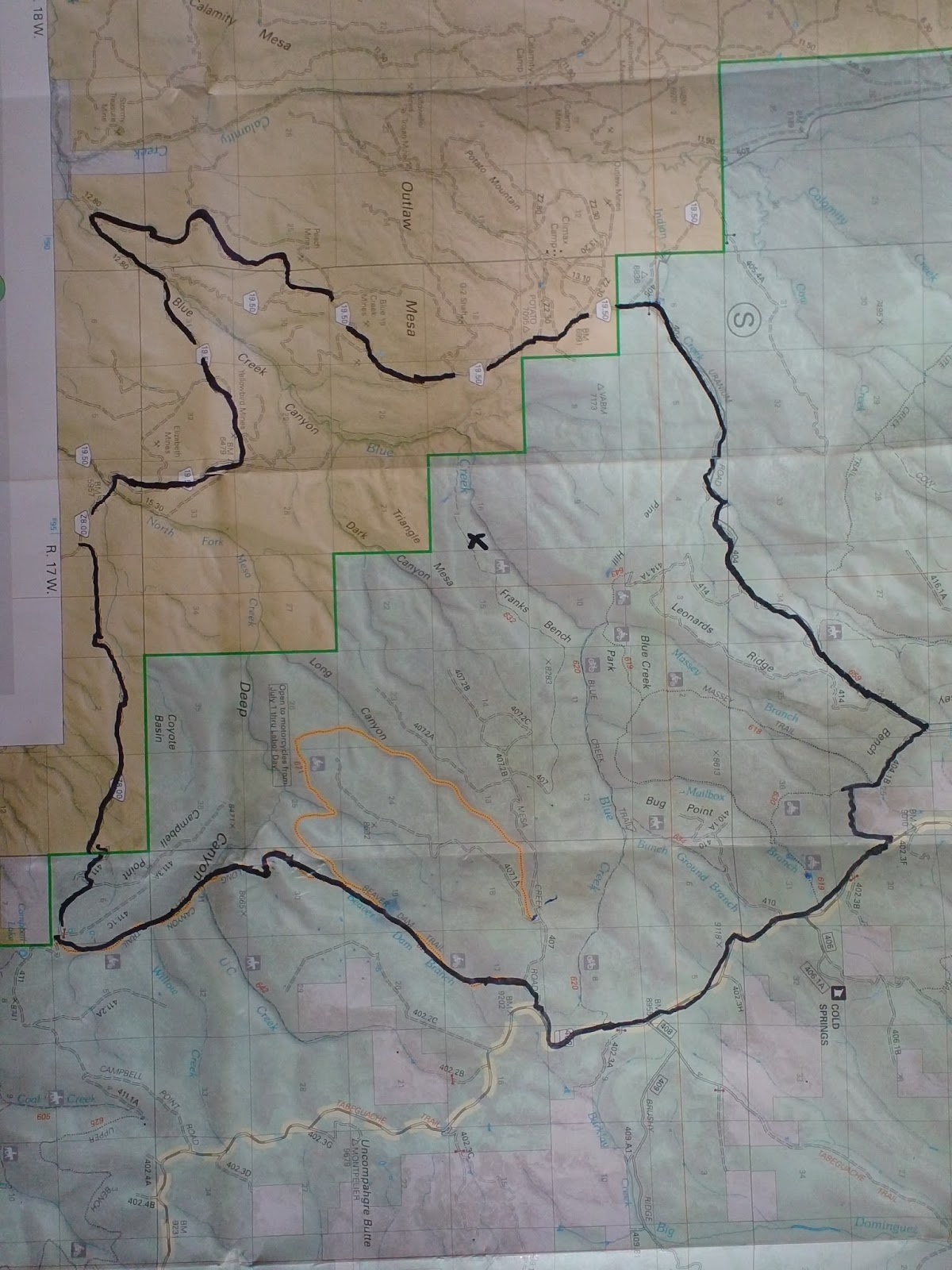 a map of the franks bench fire area the black line on the map is road trail system scouted by the module 30 miles in length