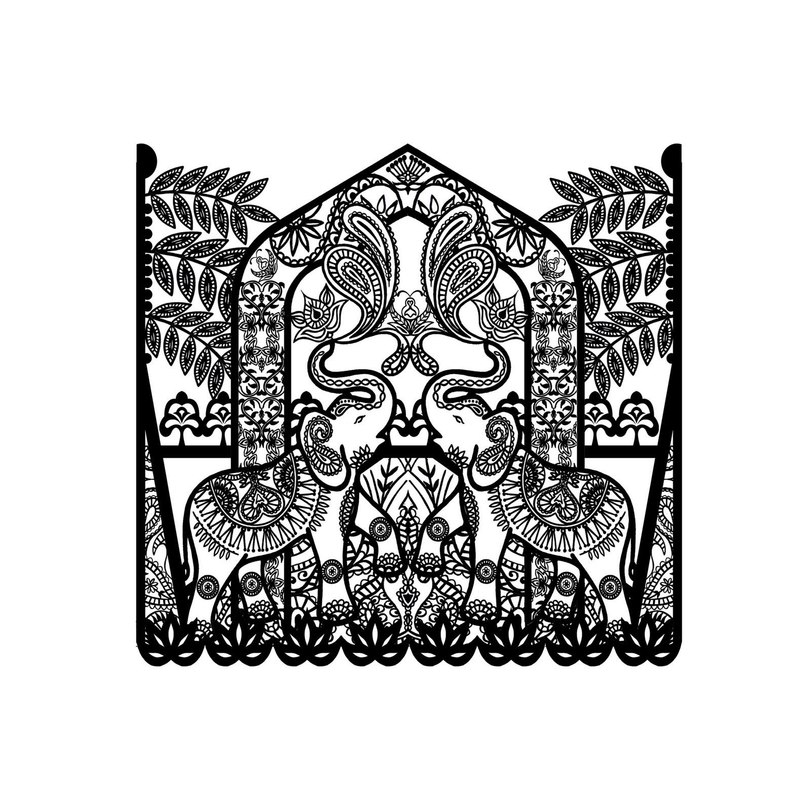 Трафарет слона для точечной росписи