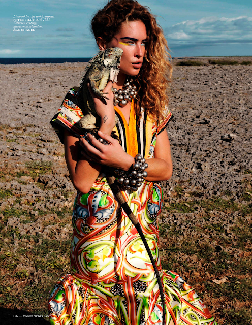 erin wasson for vogue netherlands may 2013 peter pilotto chanel print