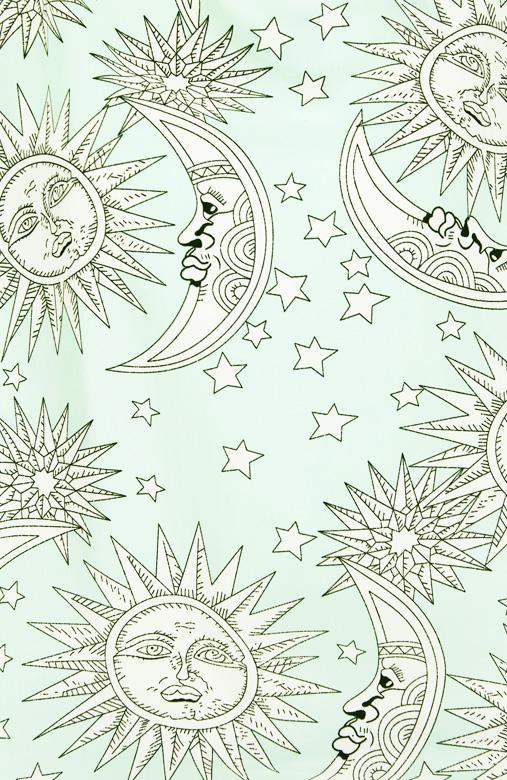 Mint Celestial Sun & Moon Print Blouse