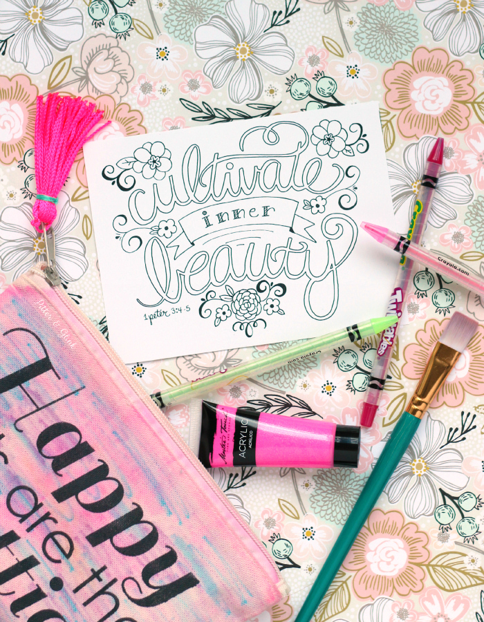 "Free Hand-Lettered ""Cultivate Inner Beauty"" Bible Verse Coloring Page. www.pitterandglink.com"