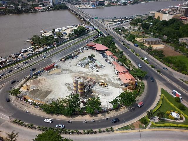 Descending from Falomo Bridge into Victoria Island, Lagos