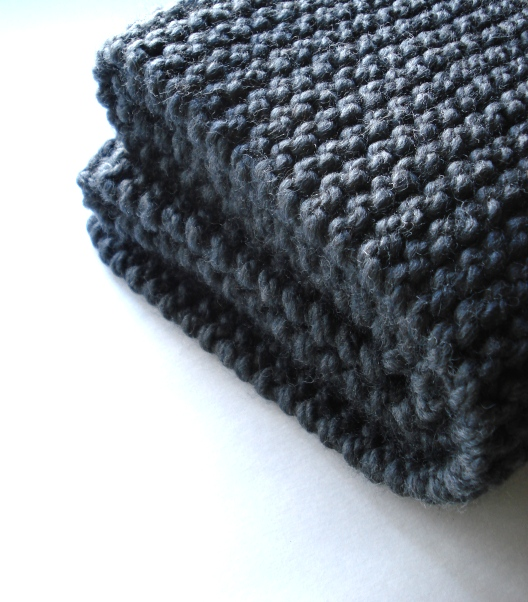 gray garter stitch scarf