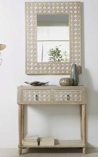 Consola y espejo decape blanco
