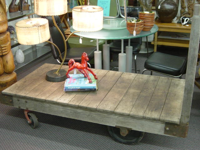 ... INDUSTRIAL FACTORY DOLLY OR CART, Could Have Even Been A Railroad Luggage  Cart. Wooden Handles On One Side Are Removable, Makes A Great Coffee Table,  ...
