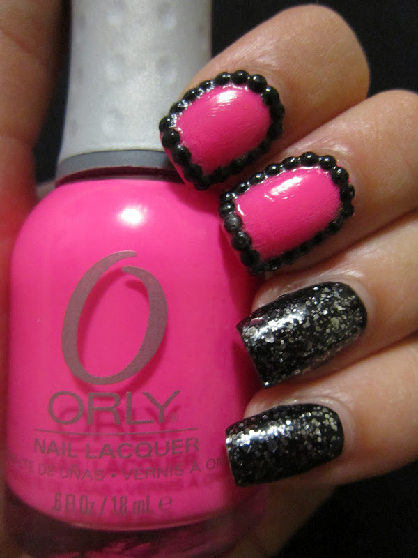 I Think The Rhinestones And Neon Pink Give Manicure A Girly Look While Being Black Nails Make It Kind Of Badass