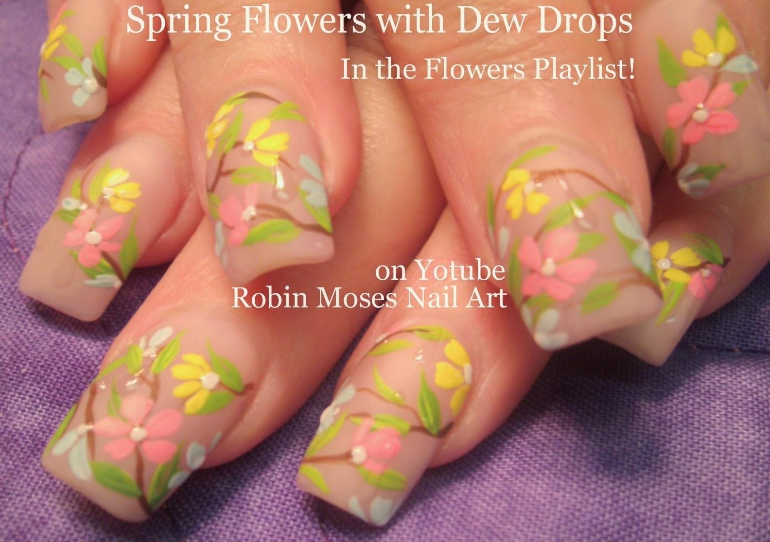 Robin Moses Nail Art: Soft Spring Daisy Nail Art Tutorial On Pink Nails Up  For