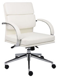 White Leather Conference Room Chair