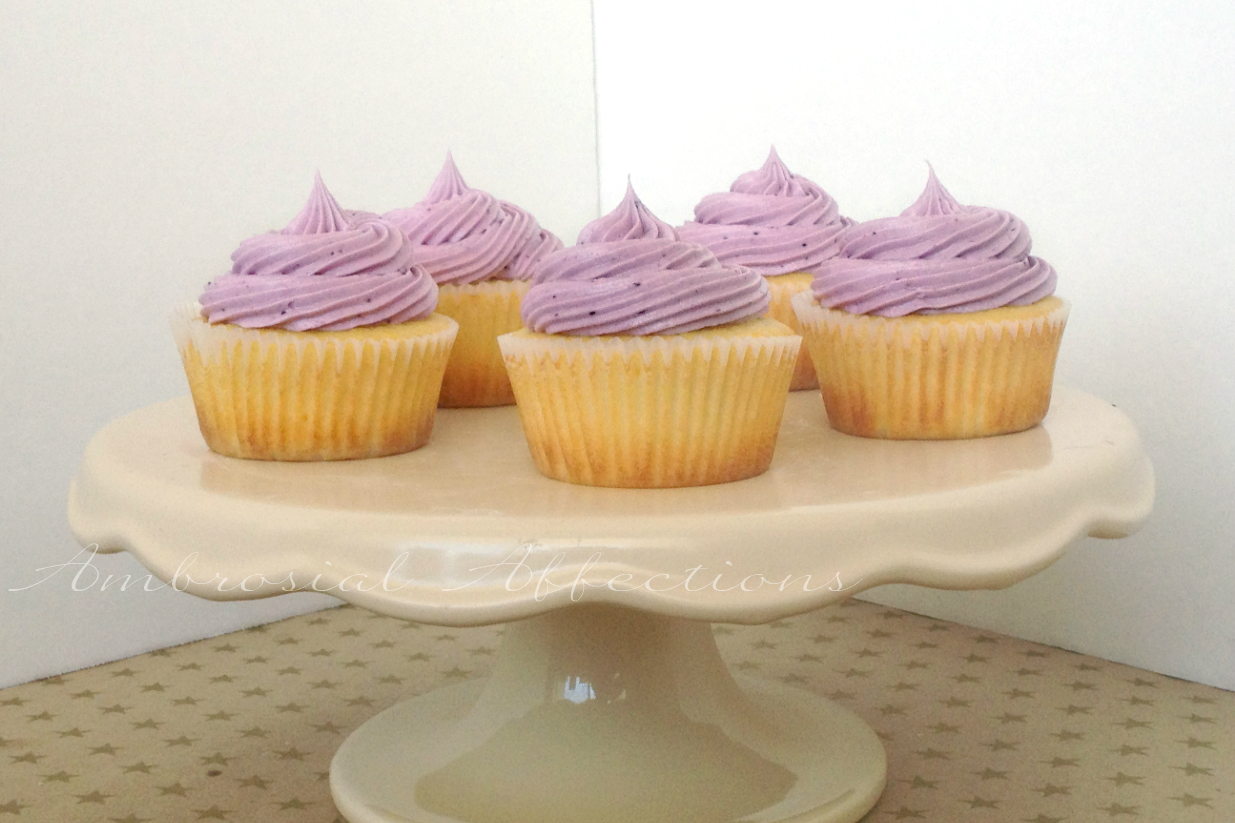 Lemon cupcakes and blueberry buttercream