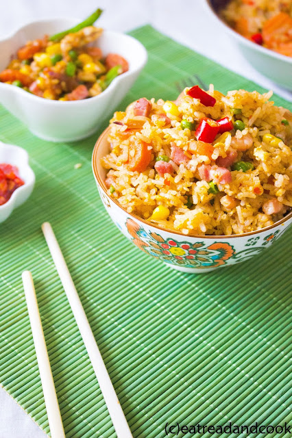 use the leftover rice and pancetta to make a tasty fried rice, Pancetta Fried Rice