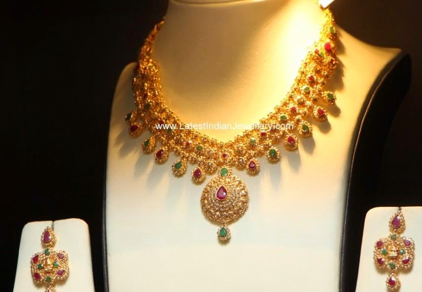 uncut diamond broad gold necklace design