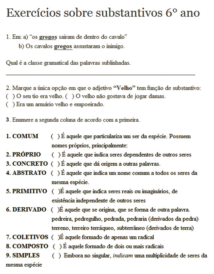 ATIVIDADES PORTUGU  S 6   ANO SUBSTANTIVOS PARA IMPRIMIR  5   S  RIE